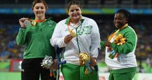 Rio , Brazil - 15 September 2016; Orla Barry of Ireland, left, with her silver medal, alongside gold medallist Nassima Saifi of Algeria, centre, and bronze medallist Eucharia Iyiazi of Nigeria during the medal ceremony of the Women's Discus F57 Final at the Olympic Stadium during the Rio 2016 Paralympic Games in Rio de Janeiro, Brazil. (Photo By Diarmuid Greene/Sportsfile via Getty Images)