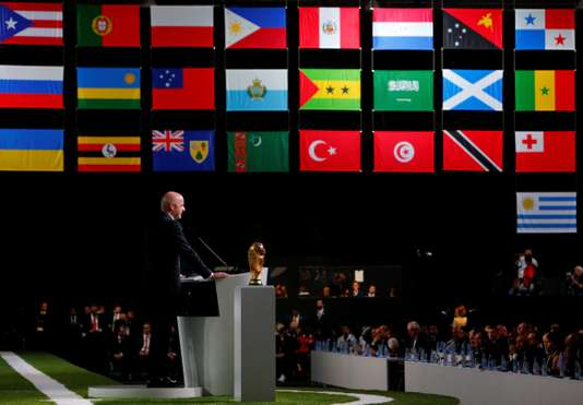 FIFA President Gianni Infantino delivers a speech during the 68th FIFA Congress in Moscow, Russia June 13, 2018. REUTERS/Sergei Karpukhin